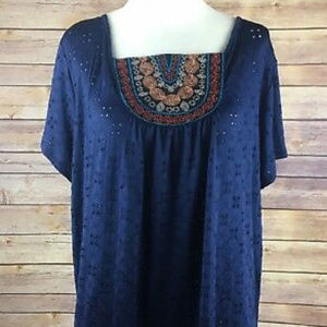 Stitch Fix Loveappella navy eyelet embroidered top
